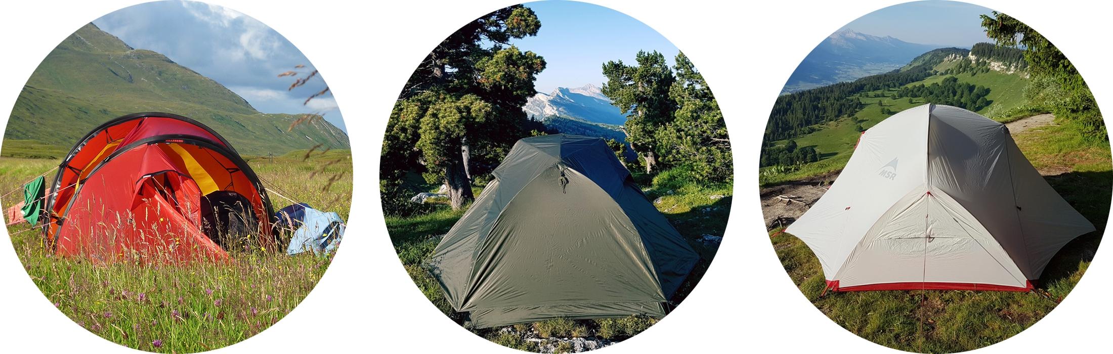Photos de tentes de différentes couleurs