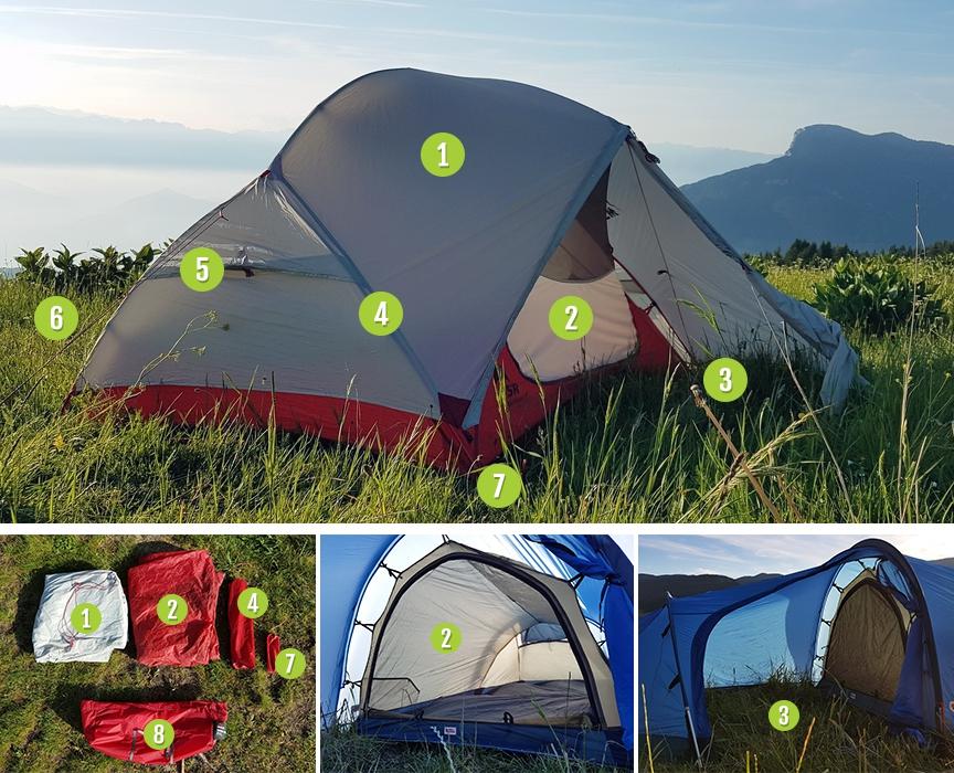 Photo des différents éléments d'une tente